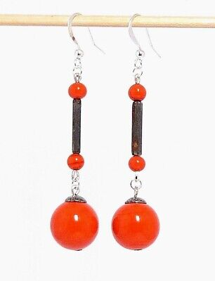 1930s Art Deco Czech orange Glass bead drop earrings to match vintage necklaces