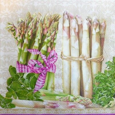 4 Single paper decoupage napkins white and green-140 Asparagus