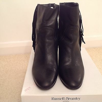 Russell & Bromley black leather wedge heel tasselled ankle boots