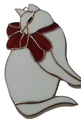 White Cat with Red - 7'' x 5'' inches - Handmade Stained Glass Sun catcher