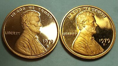 1979-S Proof Lincoln Cent Type 1 Filled S & Type 2 Clear S Deep Cameo Coin Sets