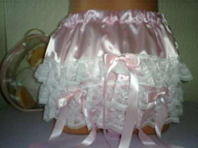 """Sissy Adult Baby Deep Lace Ruffle Pants Pink Satin Plastic Lined Very Noisy 44"""""""