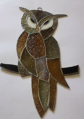 """OWL bird (Large)-Stained Glass - Handcrafted-Sun Catcher - 11"""" x 8"""""""