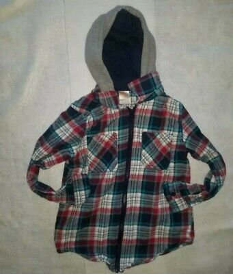a8dceb2d1 Boy's Wonder Nation Long Sleeve Plaid Layered Hooded Zip Up Shirt Size ...
