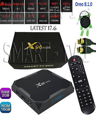 X96 Max 4K Android Oreo 8.1.0  WiFi Smart TV Box with KD 17.6 2G/16G S905X2 mini
