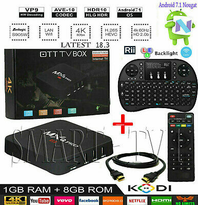 Pro S905W 64-bit Android 7.1 8GB HD 4K 3D Smart TV Box Latest 18.3 + Keyboard