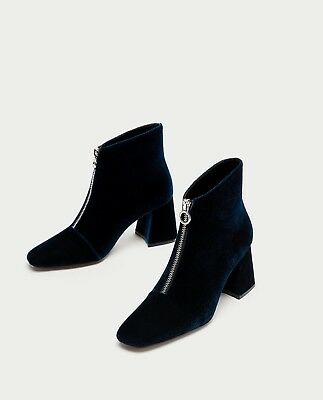bcaaf4a677b NEW ZARA HIGH Chunky Heel Stretch Real Leather Ankle Boots 5106 101 ...