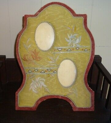 Vintage Antique Embroidered Arts & Crafts Photo Frame Easel Back