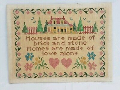 Vintage cross stitch houses and homes Antique sampler 15x11