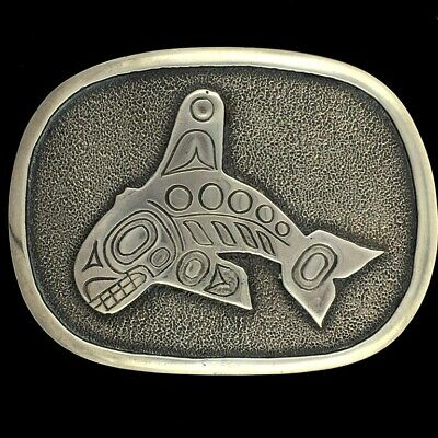 Sterling Silver Killer Whale PACIFIC NORTHWEST PNW HAIDA Tribal Art Belt Buckle