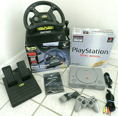 Sony Playstation 1 Game Console Bundle Oem Ps1 Controller + Steering Wheel Boxed