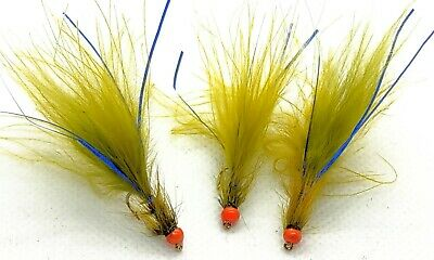 Size 10 12 pack of Blue Hothead Black//Blue Flash Damsel Lures Fishing Flies