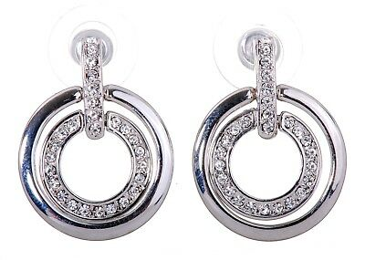 e743e084d Swarovski Elements Crystal Circle Mini Pierced Earrings Rhodium Authentic  7135u