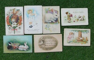 ANTIQUE EARLY 1900's BABY BUNNY EASTER POSTCARDS SEVEN OF THEM