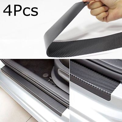 4Pc Carbon Fiber Look Car Door Plate Sill Scuff Cover Anti Scratch Sticker Black