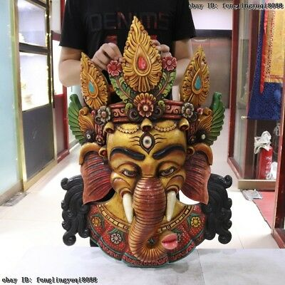 30 Thailand Buddhism Old Wood Hand Carved Color Painted Elephant God Head Mask