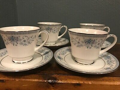 (4) Contemporary Fine China NORITAKE BLUE HILL #2482 Footed Cup and Saucer Sets