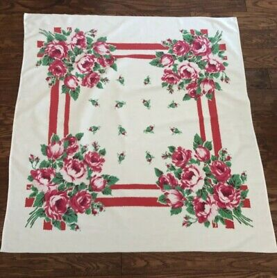 "Vintage FLORAL Tablecloth 47"" X 50"" RED Cabbage ROSES"