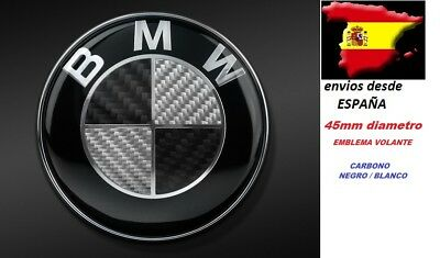 45Mm Bmw Emblema Volante Carbono Negro/Blanco - Botón Multimedia Idrive -