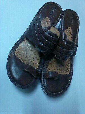fadeef37d601 Born Brown Leather Weave toe ring slip on sandals wedge heels size 9 M    40.5