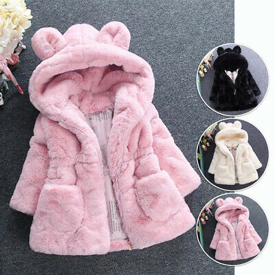 Cute Toddler Girl Baby Faux Fur Bunny Ears Hooded Winter Warm Coat Jacket Thick