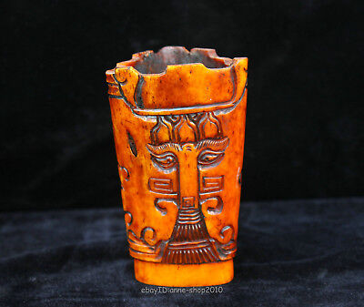 10cm Collect Chinese Old Jade Hand-carved Beast animal glass cup Sculpture ACXE