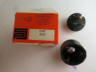 New Pass & Seymour 5931 Rubber Plug 2P 3W Grd 30A 250V