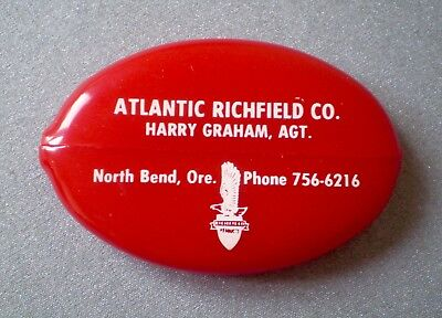Vtg Atlantic Richfield Oil Co. Advertising Red Rubber Squeeze Coin Change Purse