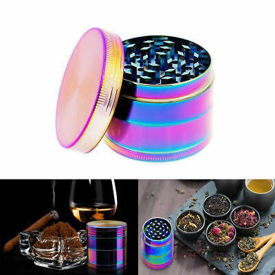 "Large Stainless Spice Tobacco Herb Weed Grinder-4 Pcs 50MM"" Rainbow Gift US"
