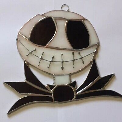"Jack Smelling Black/White Handmade Stained Glass - Sun catcher - 6'' x 5""inches"