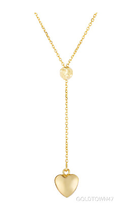14k Yellow Gold Shiny Heart Drop on Link Necklace with Lobster Clasp