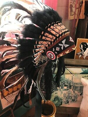 Native American Indian Black & White Feather Headdress small & great.....