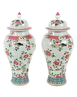 Pair of Beautiful Antique Chinese White & Pink flowers Lidded Porcelain Vases