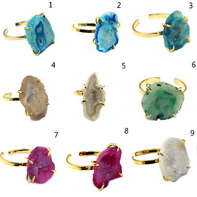 Stylish Natural Geode Druzy 24k Gold Plated Prong Set Adjustable Ring Jewelry