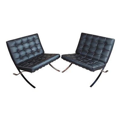 Barcelona Chairs -Beautiful Vintage Black Leather Seats -A Pair