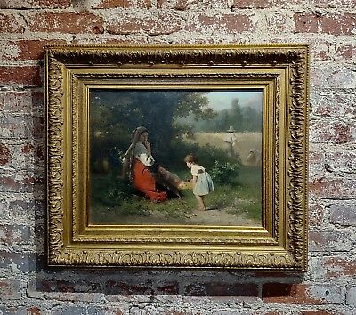 Karel Frans Philippeau -Flowers for the Baby-19th century Dutch Oil painting
