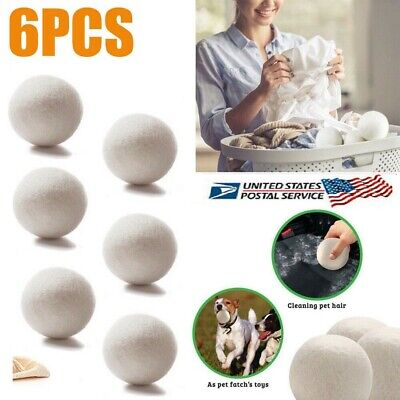 6-Pack Wool Dryer Balls XL Premium Reusable Natural Fabric Softener Eco Safe USA