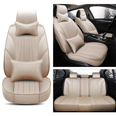 Universal Car Seat Cover Set 5-Seat Sedan/SUV Protector PU Leather Cushions