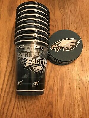 PHILADELPHIA EAGLES 16-Pc. NFL PARTY DRINK SETS - REUSEABLE TEAM COLLECTIBLE
