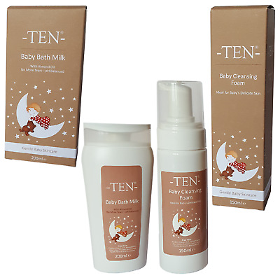 Ten ~ Boutique Gentle Baby Skincare ~ Bath Milk & Cleansing Foam Set ~ Natural