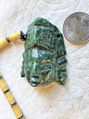 Pre Columbian Mayan Dark Green Jade 2 Face Head Man Necklace Pendant W/Chain