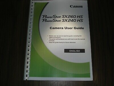 ~PRINTED~ Canon Powershot Sx260 SX240 IS  User guide Instruction manual  A4/A5