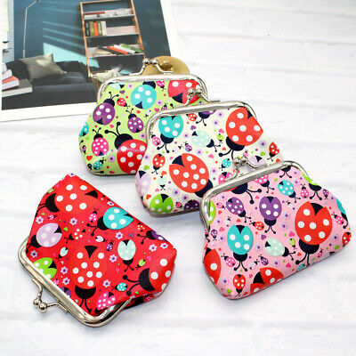 Colorful Kids Faux Leather Ladybird Mini Wallet Coin Purse Cash Card Holder Clev
