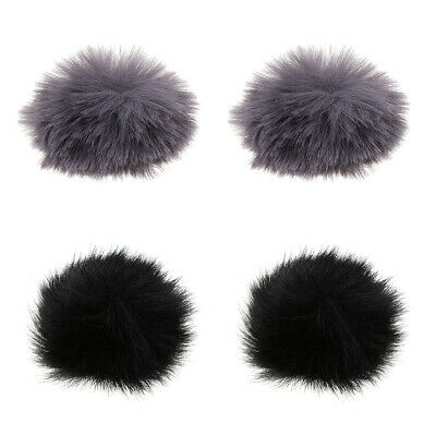4Pcs Microphone Furry Windscreen Windshield Muff Mic Furry Cover Black Gray