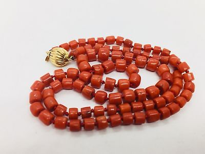 4939bf8ec Tiffany & Co. Sardinian Natural Coral Bead Necklace 14KT Gold Clasp 22 Inch  RARE