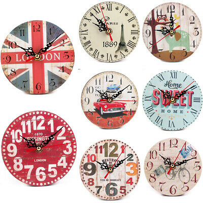 Vintage Wooden Wall Clock Shabby Rustic Country Home Kitchen Kids Room Watch