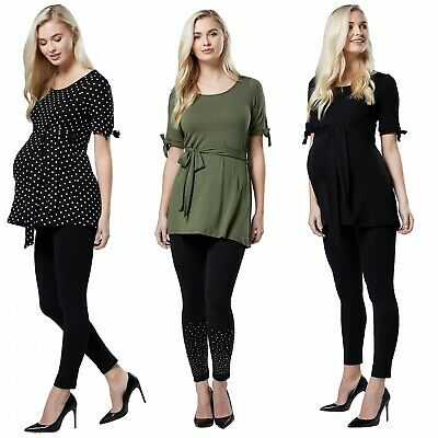 Happy Mama. Women's Maternity Pregnancy A-Line Top Short Sleeve Front Tie. 568p