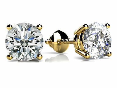 1.50 Ct Round Cut Diamond Screw Back Solitaire Stud Earrings 14K Yellow Gold