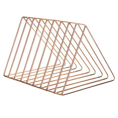 Metal Desk Book Holder Modern Minimalist Bookshelf Home Office Use Rose Gold