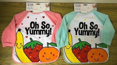 """*NEW* Baby Bib. Long Sleeve. Washable. """"Oh So Yummy"""". Pink or Green."""